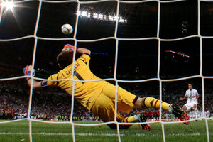 Portugal's Bruno Alves misses his penalty shootout during the Euro 2012 soccer championship semifinal match between Spain and Portugal in Donetsk, Ukraine. Photo / AP