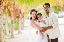 Pua Magasiva, wife, Kourtney with daughter, Jasmine, taken at their wedding. Photo / Renee Lansdowne