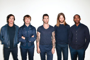 Adam Levine (centre) with his Maroon 5 bandmates.  Photo / Supplied