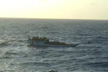 The MV Bison Express took this picture of the vessel off Christmas Island shortly before the boat sank and the rescue operation began. Photo / AMSA 