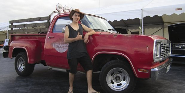 Scott Stacey with his Dodge Li'l Red Express, featured in' The Kiwi Ute Driver's Guide To Life'.