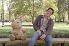 Buds: Seth MacFarlane lends his voice to Ted, furry friend to John Bennett (Mark Wahlberg). Photo / Supplied