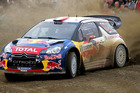 Sebastien Loeb (FRA) and co-driver Daniel Elena (MCO) compete in their Citroen DS3 WRC during Day Two of the Brother Rally New Zealand.