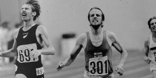 Dick Quax, left, held New Zealand's only silver medal in track and field for years after following Lasse Viren over the line in 1976. Picture / AP