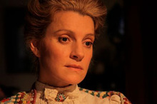 Ringing true: As Kate Sheppard, Sara Wiseman presents the suffragette's story. Photo / Supplied