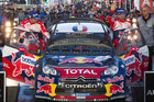 Daniel Elena and Sebastien Loeb celebrate their win. Photo / Greg Bowker