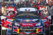 Daniel Elena and Sebastien Loeb celebrate their win. Photo / Greg Bowker