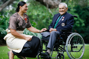 Olympian Valerie Adams and Major Hone Waititi at an investiture ceremony at Government House in 2009. Photo / Greg Bowker
