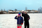 8-year-old Arrowtown Primary School pupils Carmen Woodhouse and Marigold Kunath have some fun before class.  Photo / Olivia Caldwell