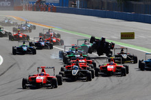 Mitch Evans leads an action-packed first lap in Valencia during GP3 race one. Photo / Supplied