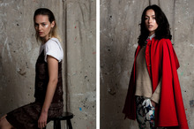 (Left) Penny wears a Grecian printed dress by DNA from 1997. (Right) Ngahuia wears Kate Sylvester's red wool cape from 2007. Photo  / Babiche Martens