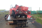 The car involved in the fatal crash at Gordonton near Hamilton. Photo / Christine Cornege