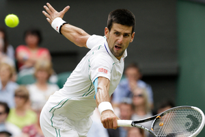 Serbia's Novak Djokovic plays a return to Radek Stepanek of the Czech Republic during their third round men's singles match at Wimbledon. Photo / AP