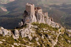 Queribus Castle - one of the places the Cathars took refuge at during the 13th century - offers spectacular views. Photo / Supplied