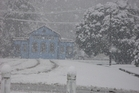 The historic Reefton court house could barely be seen this morning. Photo / Supplied