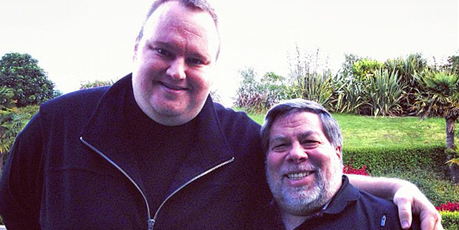 Steve Wozniak, co-founder of Apple, right, with Kim Dotcom. Photo / Twitter
