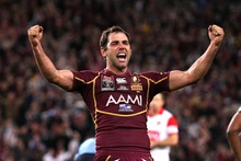 Cameron Smith celebrates another State of Origin series victory for Queensland. Photo / Getty Images