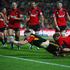 Brodie Retallick of the Chiefs dives over to score a try during the round 17 Super Rugby match between the Chiefs and the Crusaders at Waikato Stadium.