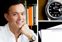 Andrew Glenn and two of his favourite things: Rolex Explore II Watch and personalised gift cards. Photo / Babiche Martens