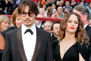 Johnny Depp with Vanessa Paradis. File Photo / AP