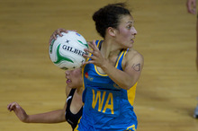 Nadia Loveday of Mt Albert Grammar School looks for a quick pass. Picture / Sarah Ivey