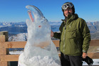 Riley and his cheeky kea ice carving won the  Zumwohl on Ice  sculpting competition at  Treble Cone, Wanaka, yesterday. Photo / Supplied