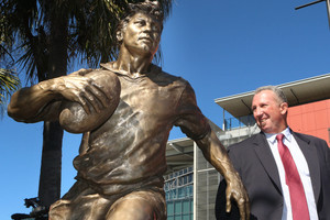 Brad Beetson at the unveiling of his father's statue yesterday.Picture / Courier Mail.