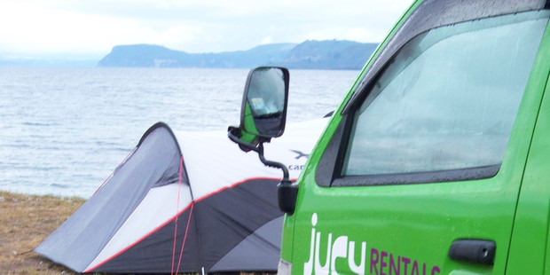 Taupo freedom campers have a lakeside view but no home comforts. Photo / Supplied