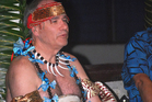 Len Brown was dressed in full ceremonial attire, including an ula tupe or money necklace, to receive his title. Photo / Talamua Media