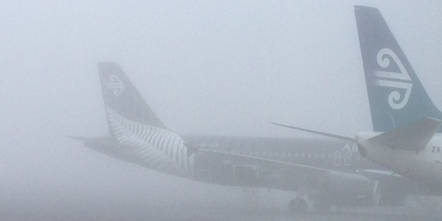 Planes stranded by fog at the domestic terminal Auckland Airport. Photo / Sarah Ivey