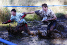 Competitors had fun at the Tough Guy and Gal Challenge in Auckland yesterday. Photo / Doug Sherring
