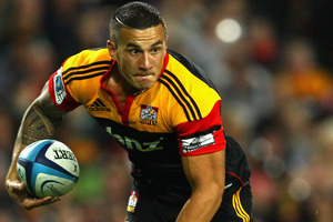 Speculation on the sporting future of the Chiefs' Sonny Bill Williams will be rife during tonight's match, which sees him taking on his former team, the Crusaders. Picture / Getty Images.