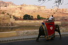 An elephant walks to work, carrying tourists up to the 16th century Amber Fort outside of Jaipur. Photo / Supplied