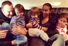 Kim Dotcom and his wife Mona with their children. Photo / Supplied