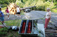Marilyn Golias, right, looks at the remains of a utility pole which f