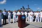 U.S. Navy Admiral Cecil Haney, commander of the Pacific Fleet, speaks during a news conference at Pearl Harbour today. New Zealand has been refused permission to berth at Pearl Harbour. Photo / AP 