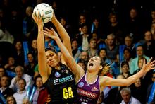 Magic goal attack Julianna Naoupu (left) is