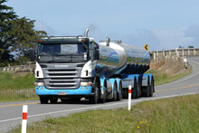 Fonterra dairy milk tanker, Hawera. Dairy prices have fallen to their lowest level in 33 months, according to the ANZ index. Photo / Ross Setford
