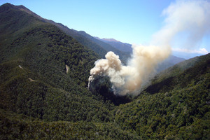 Smoke pours from the underground Pike River mine after the 2010 explosions. Photo / File