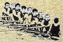 Dunedin's 12th Cadbury Chocolate Carnival opened yesterday with a number of paintings, in chocolate, of Kiwi Olympic greats unveiled. This one is of the 1972 gold medal-winning eight from the Munich Games. Photo / Supplied