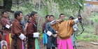 A Bhutanese archery tournament in full swing. Photo / Jill Worrall