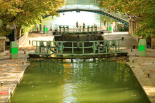 Built to carry drinking water in the early 19th century, Canal Saint-Martin now carries tourists. Photo / Thinksto