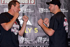 Boxers Mark Watson and Jesse Ryder face off during the press conference ahead of their fight on Thursday. Photo / Dean Purcell