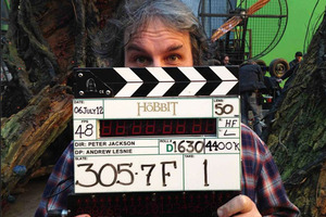 Peter Jackson on set on the last day of Hobbit shooting. Photo / Facebook