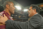 Petero Civoniceva of the Maroons is congratulated by coach Mal Meninga. Photo / Getty Images