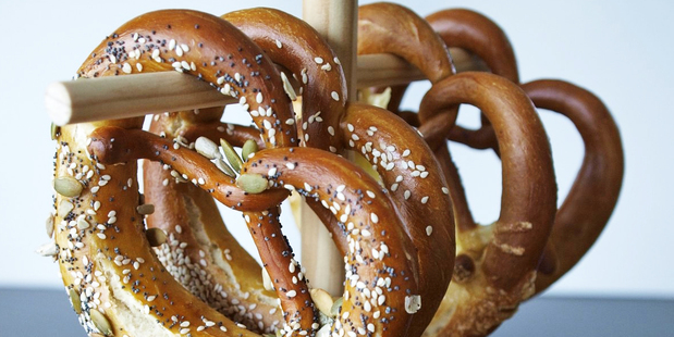 Yvonne Blum's soft, buttery, bread pretzels. Photo / Supplied