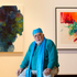 Artist, Paul Tangata, with some of his work on display at Home AKL, now showing at the Auckland Art Gallery. Photo / Steven McNicholl