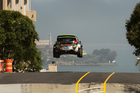 Ken Block gets a whole lot of air during filming of Gymkhana Five in San Francisco. Photo / Supplied