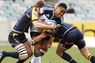Francis Saili of the Blues is tackled during the Super Rugby Round 18 game between the Brumbies and the Blues. Photo / Getty Images.