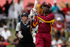 There were positives for the Black Caps but they were still no match for Chris Gayle as the West Indies won the second one-dayer by 55 runs in Jamaica today. Photo / AP.